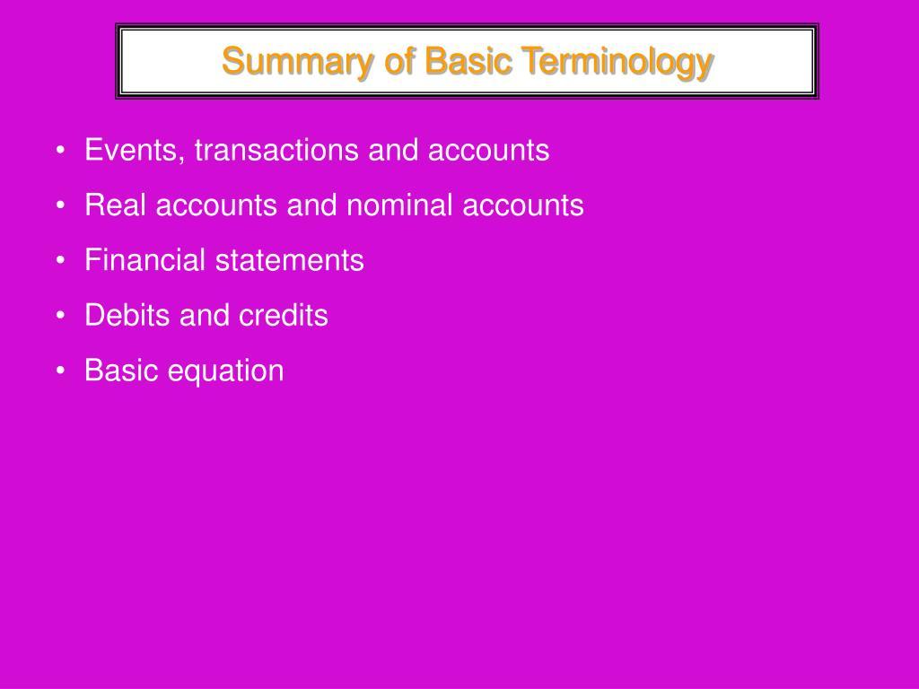 Summary of Basic Terminology