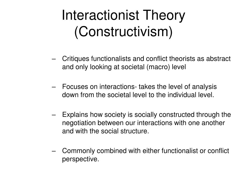 functionalist conflict and the interactionist perspectives in education The sociology of education is the study of how public institutions and individual  experiences  conflict theory structural functionalism symbolic interactionism   the perspective of conflict theory, contrary to the structural functionalist.
