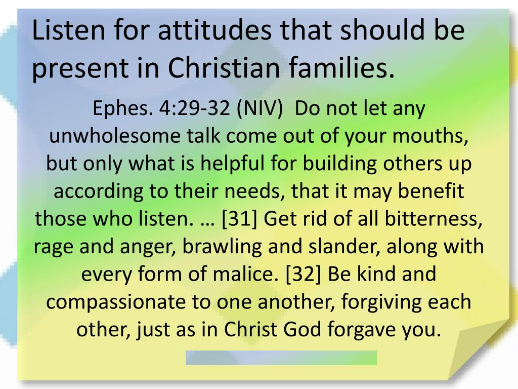 Listen for attitudes that should be present in Christian families.
