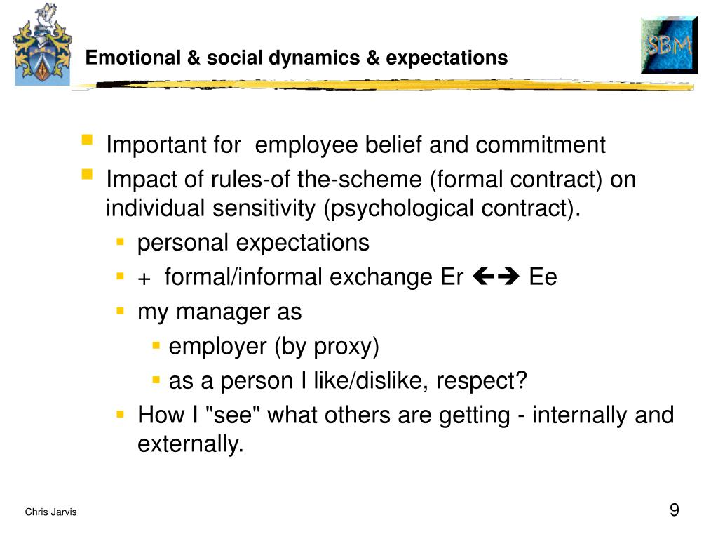 Emotional & social dynamics & expectations