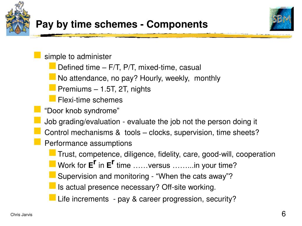 Pay by time schemes - Components