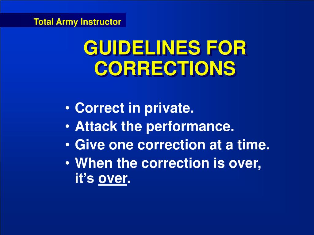 GUIDELINES FOR CORRECTIONS