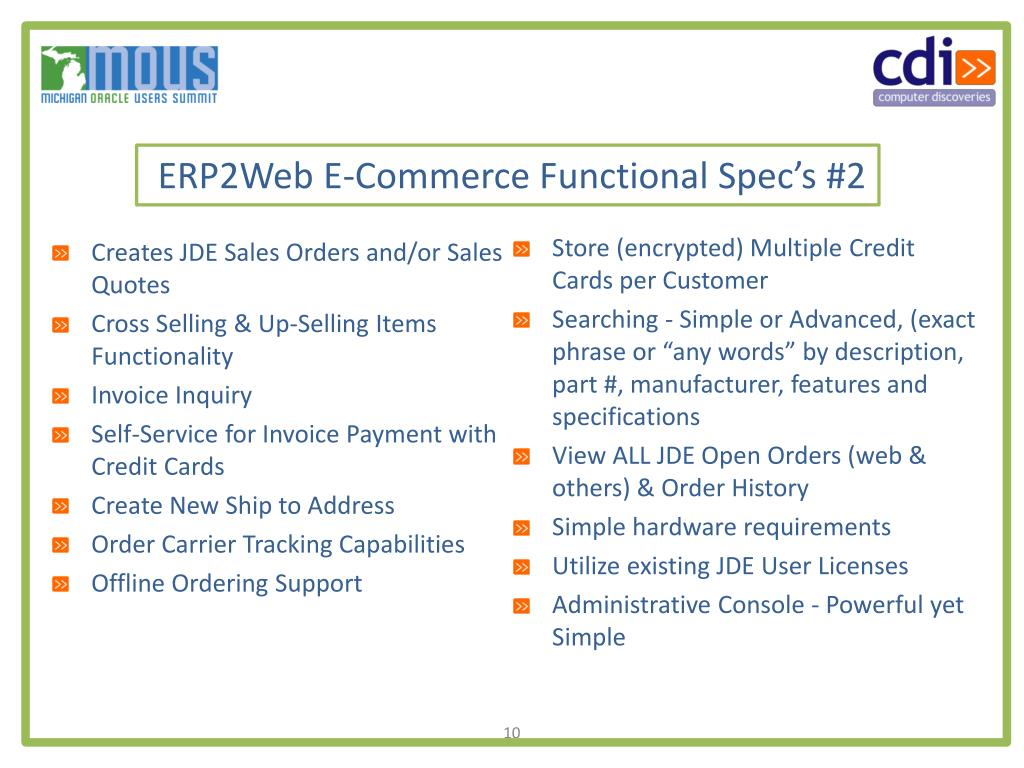 ERP2Web E-Commerce Functional Spec's #2