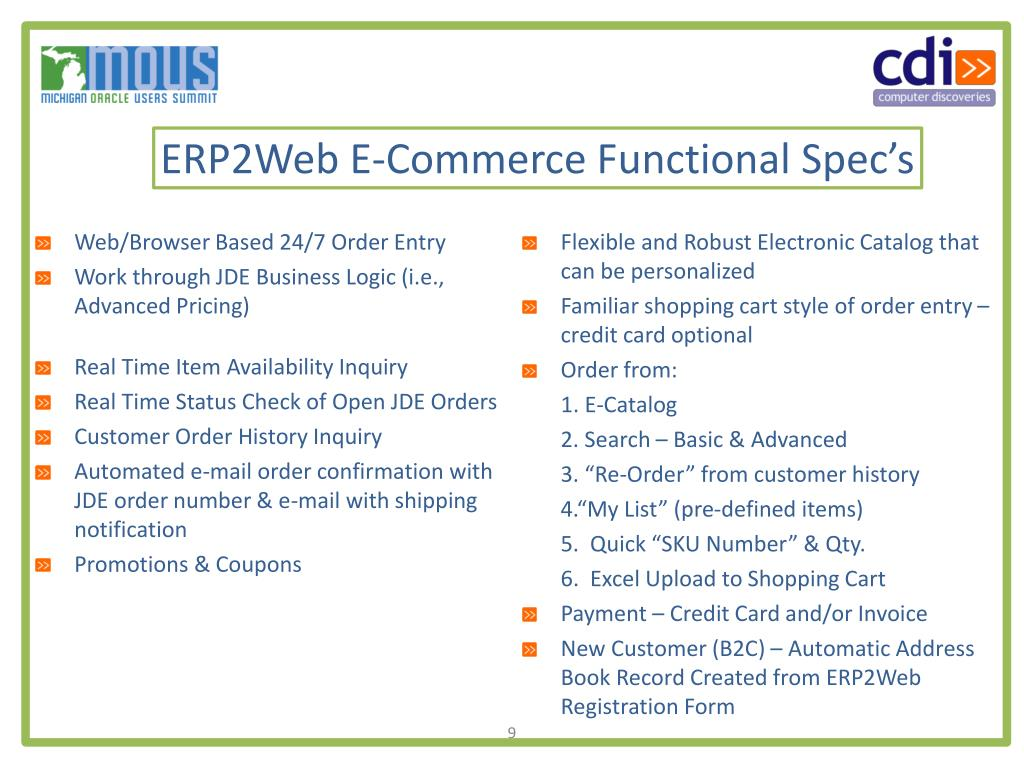 ERP2Web E-Commerce Functional Spec's