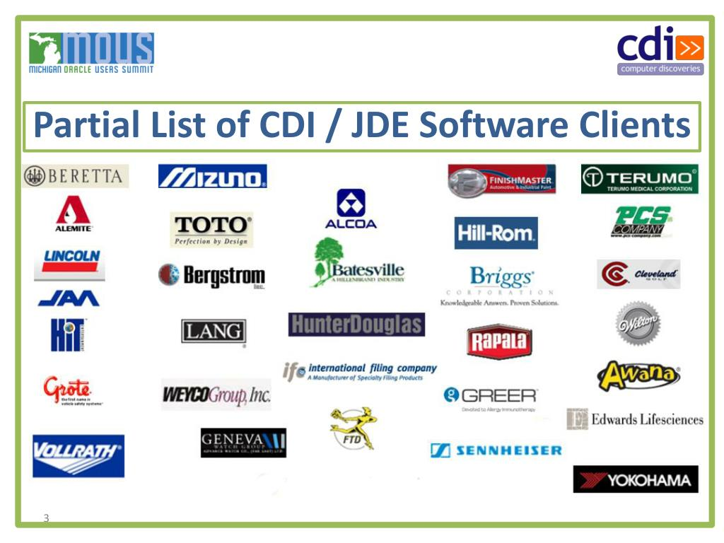 Partial List of CDI / JDE Software Clients