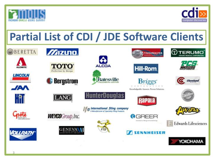 Partial list of cdi jde software clients