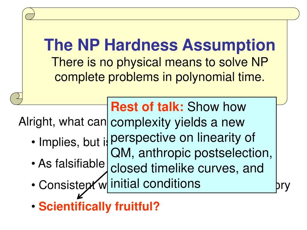 The NP Hardness Assumption