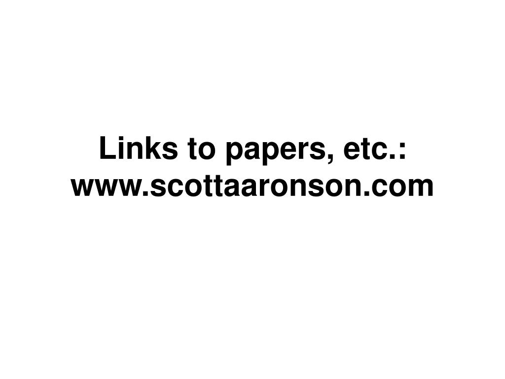 Links to papers, etc.: