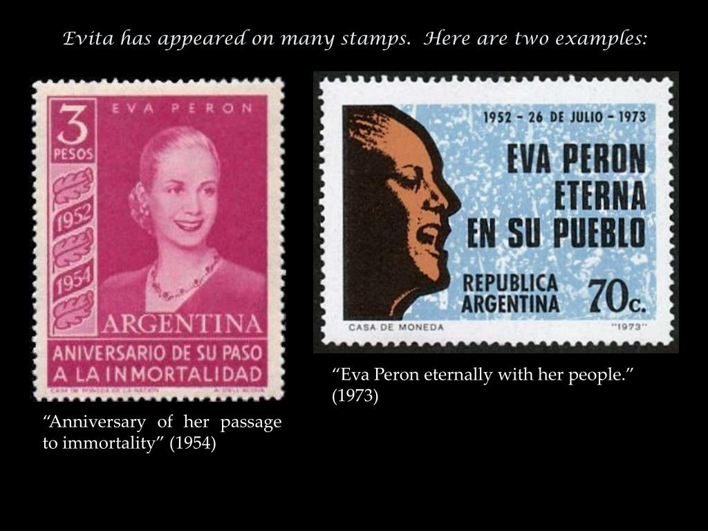 Evita has appeared on many stamps.  Here are two examples: