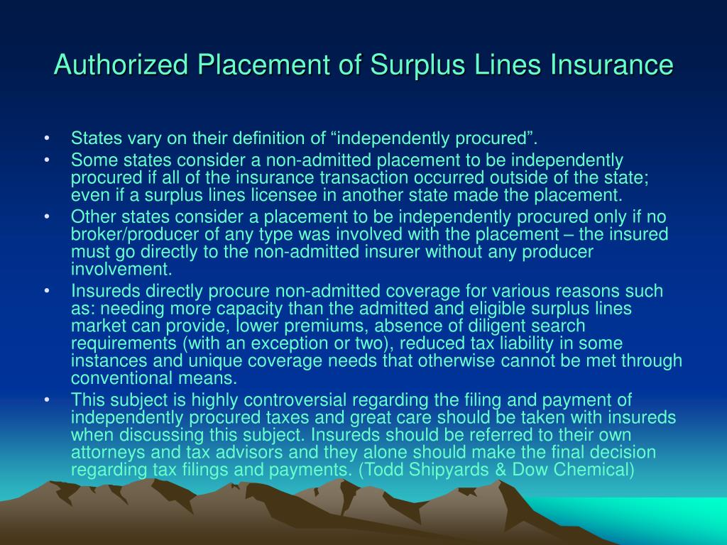 Authorized Placement of Surplus Lines Insurance