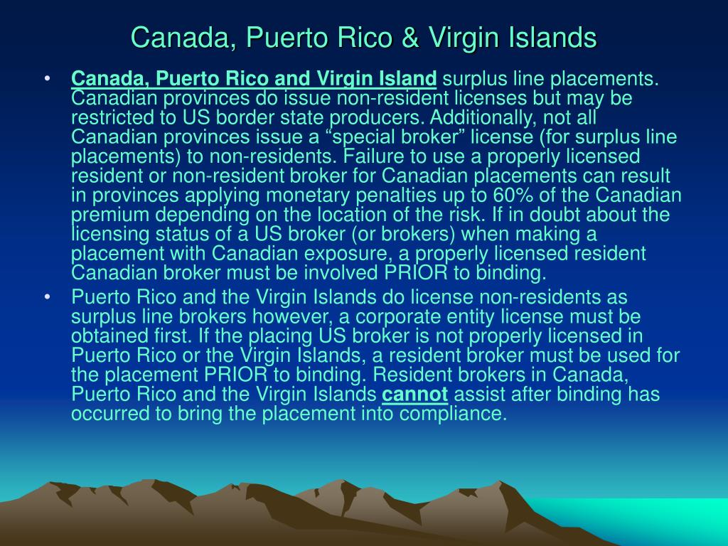 Canada, Puerto Rico & Virgin Islands