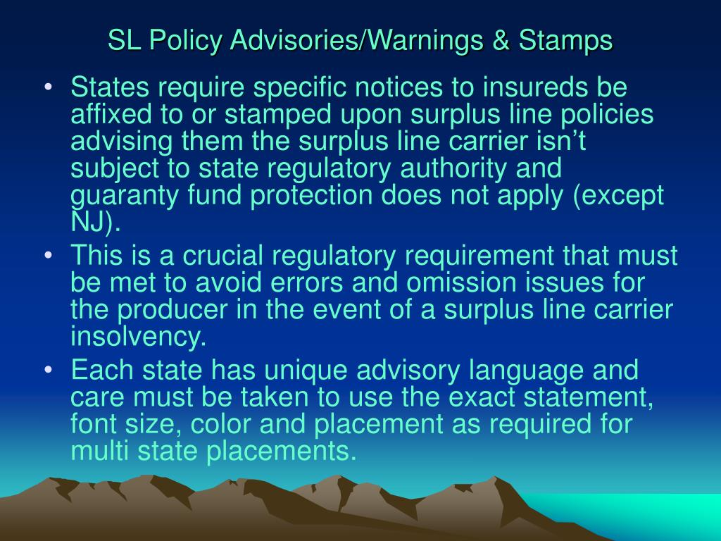 SL Policy Advisories/Warnings & Stamps