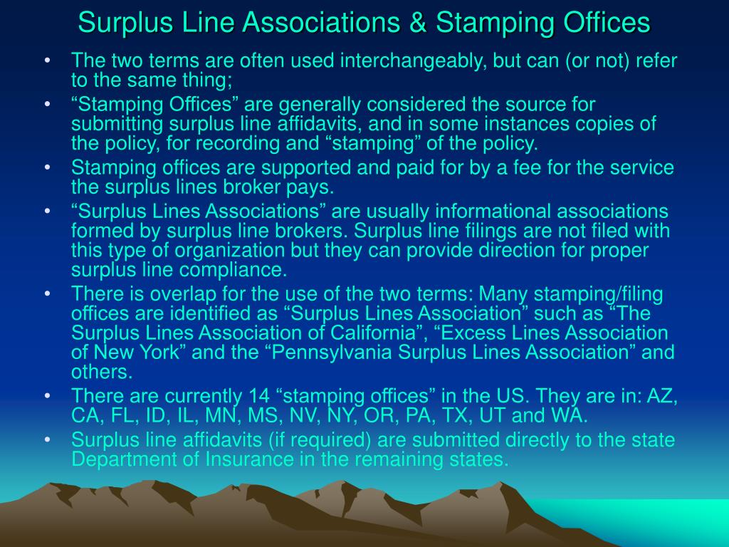 Surplus Line Associations & Stamping Offices