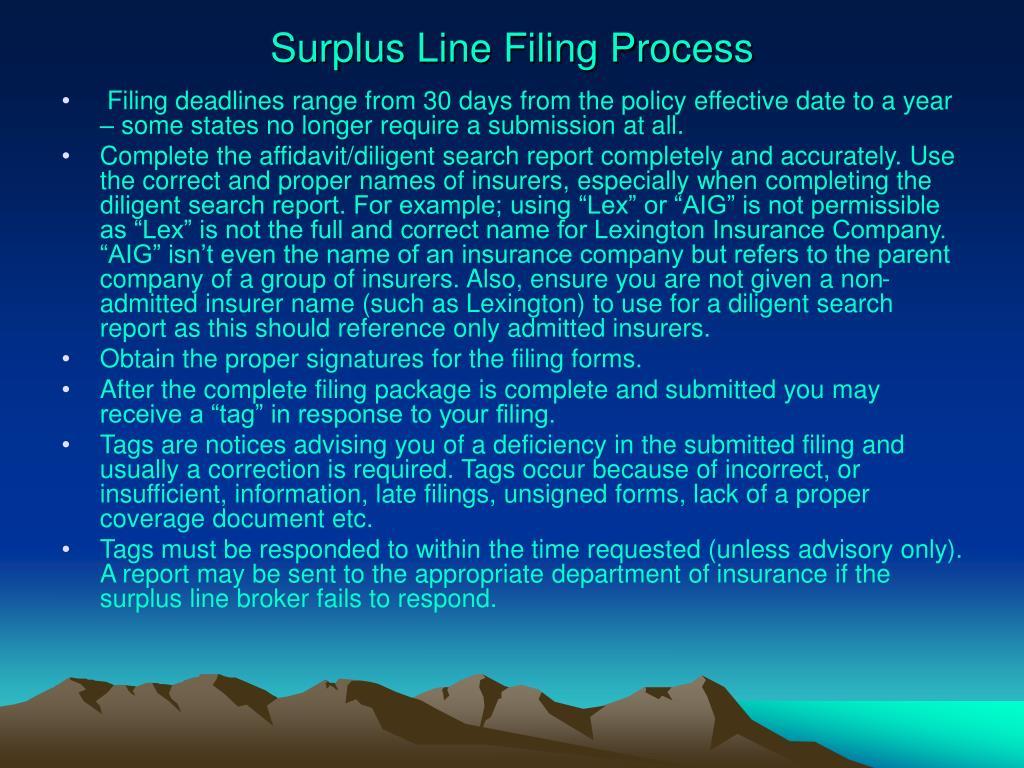 Surplus Line Filing Process