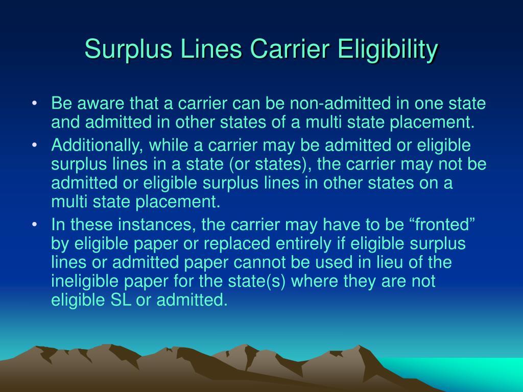Surplus Lines Carrier Eligibility