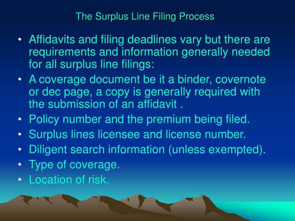 The Surplus Line Filing Process