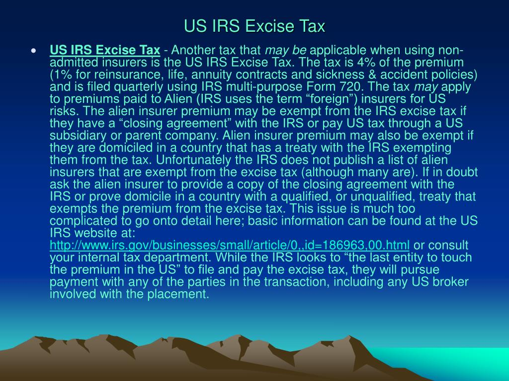 US IRS Excise Tax