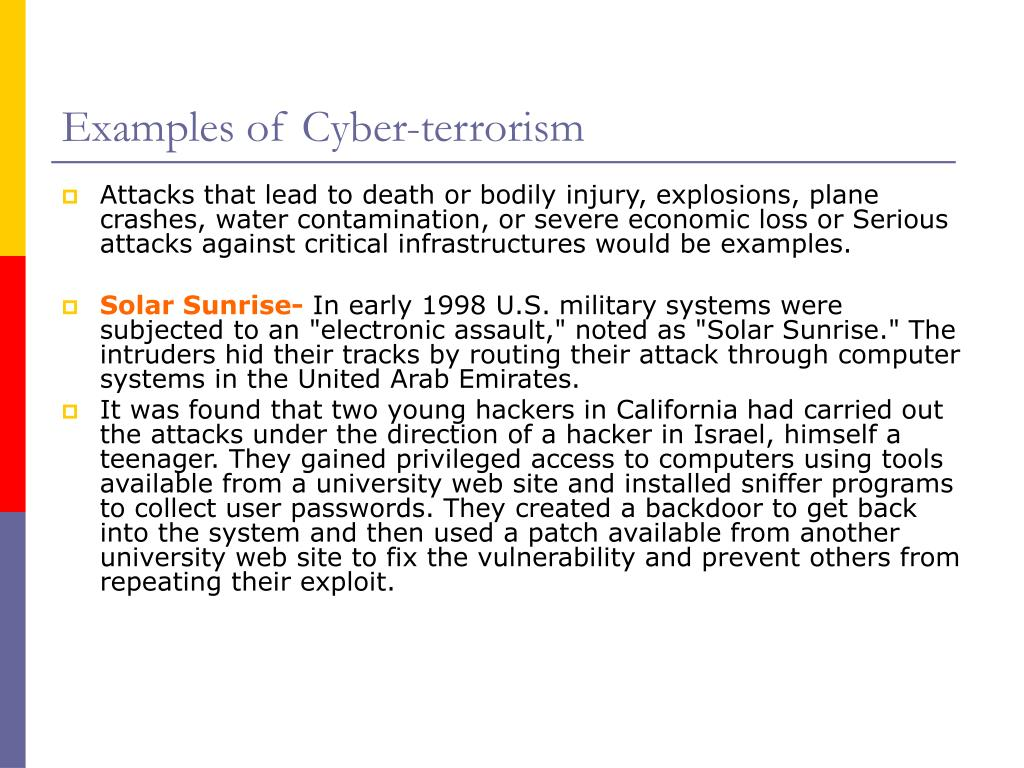 Examples of Cyber-terrorism