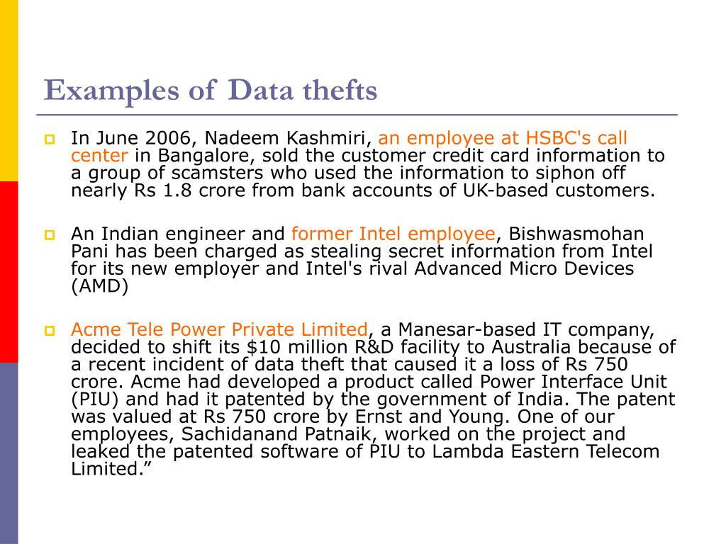 Examples of Data thefts