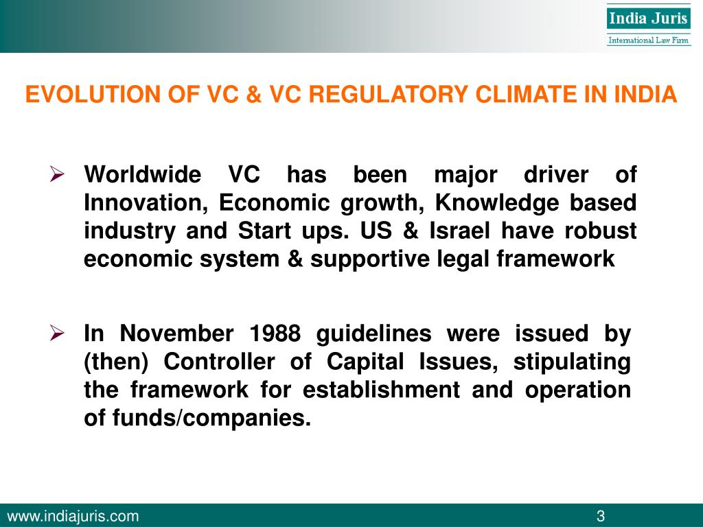 EVOLUTION OF VC & VC REGULATORY CLIMATE IN INDIA