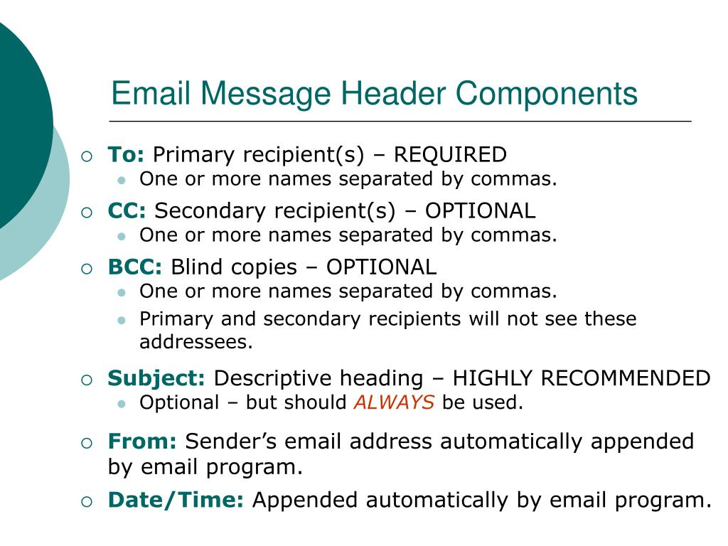 Email Message Header Components