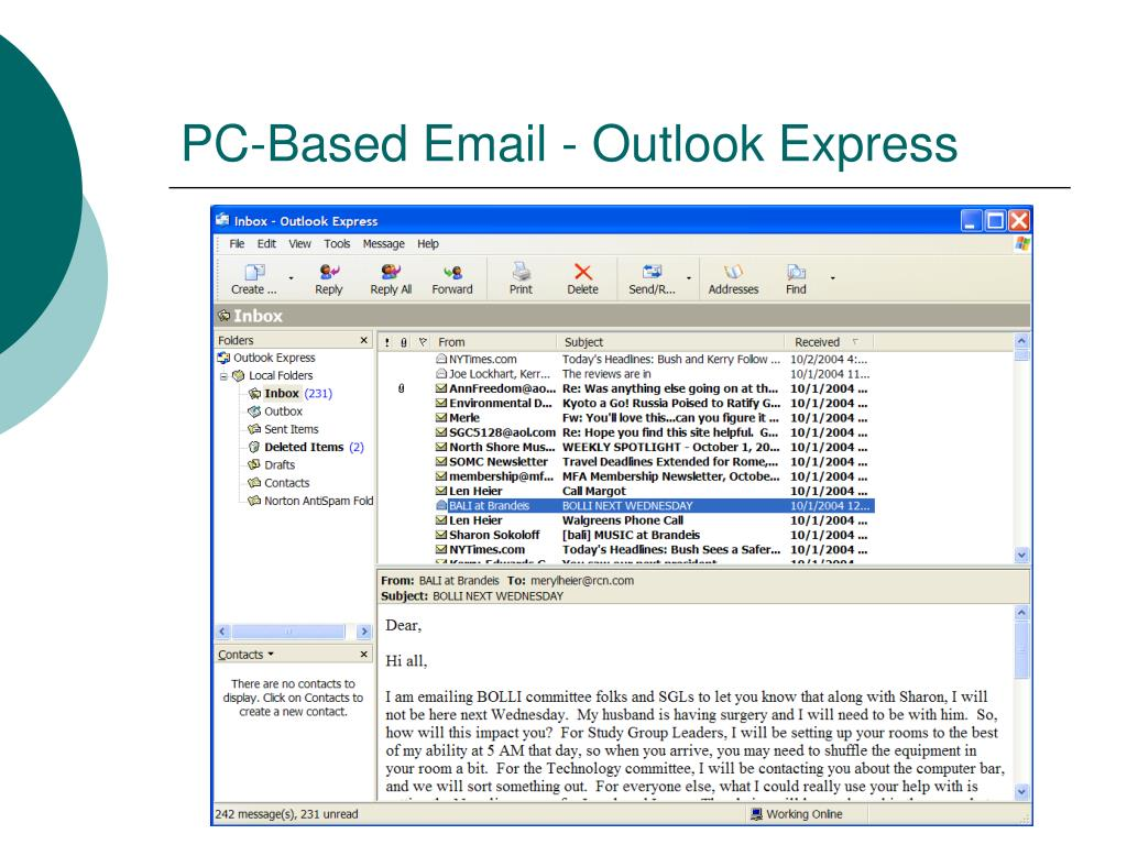 PC-Based Email - Outlook Express