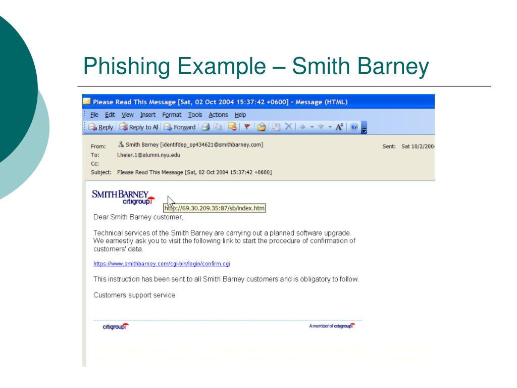 Phishing Example – Smith Barney