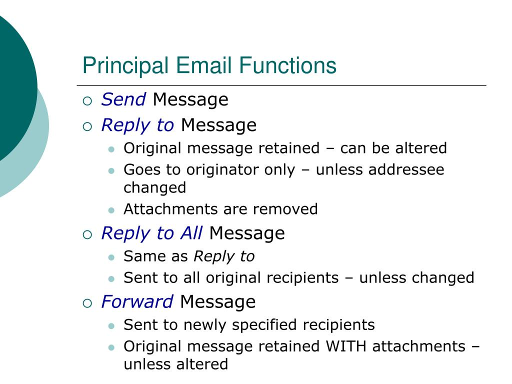 Principal Email Functions