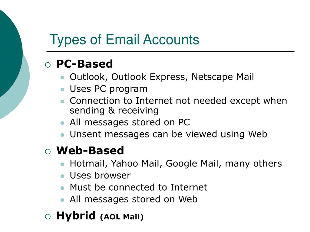Types of Email Accounts