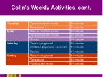 colin s weekly activities cont