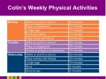 colin s weekly physical activities