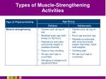 types of muscle strengthening activities