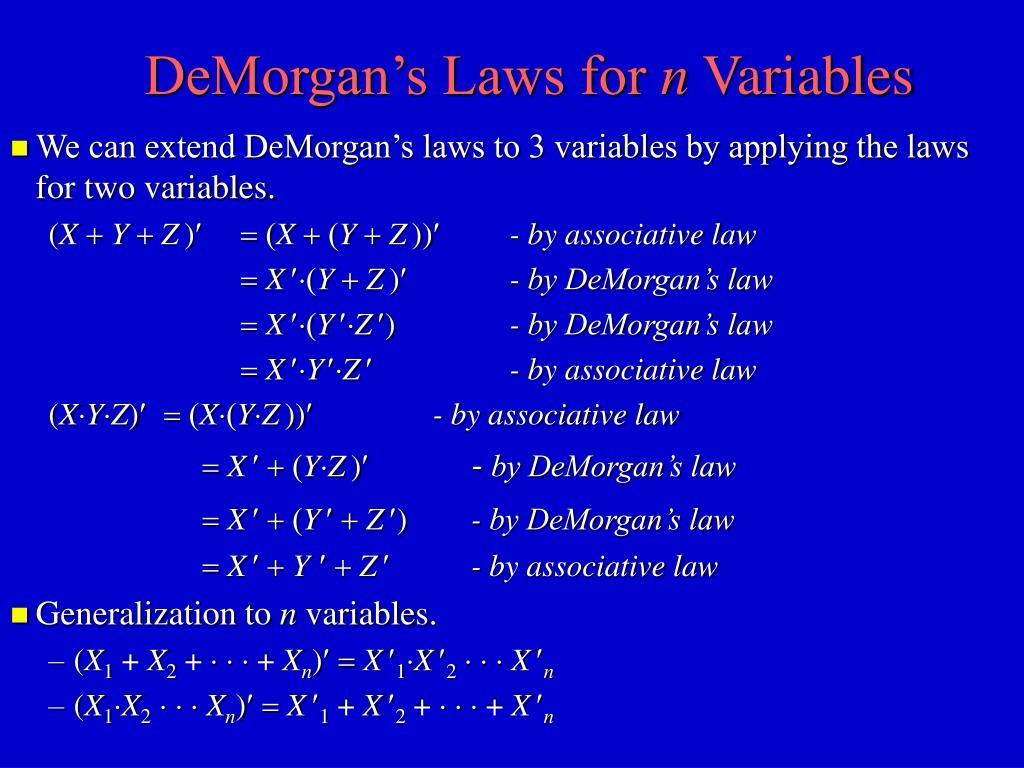 DeMorgan's Laws for