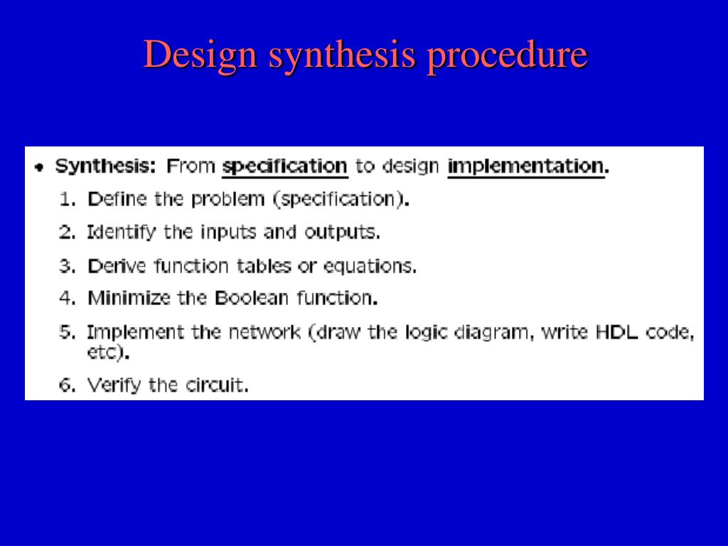 Design synthesis procedure
