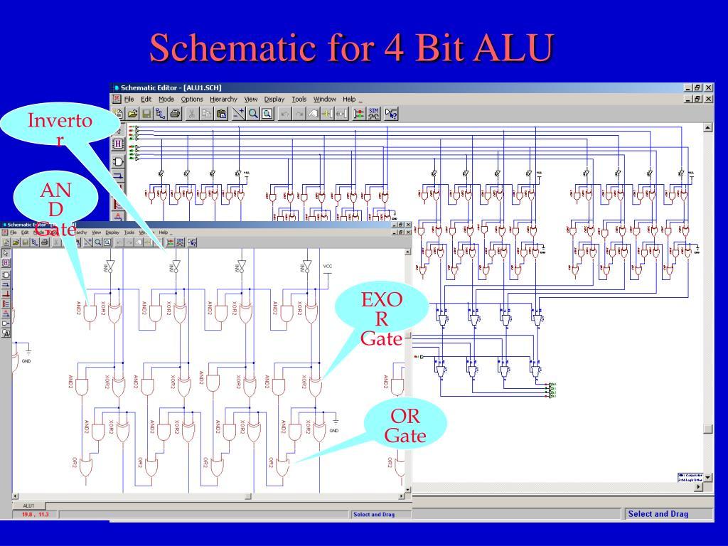 Schematic for 4 Bit ALU