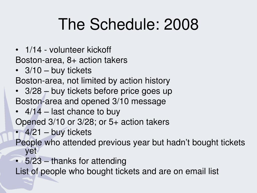 The Schedule: 2008