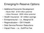 emerging in reserve options