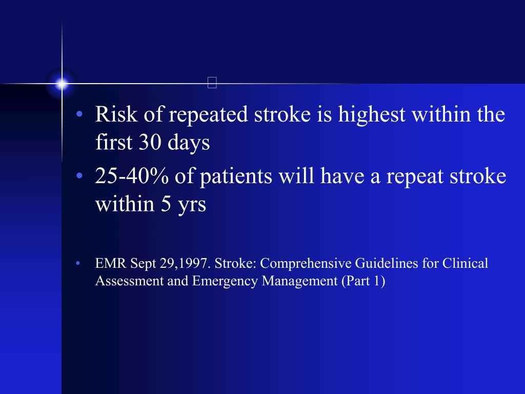 Risk of repeated stroke is highest within the first 30 days