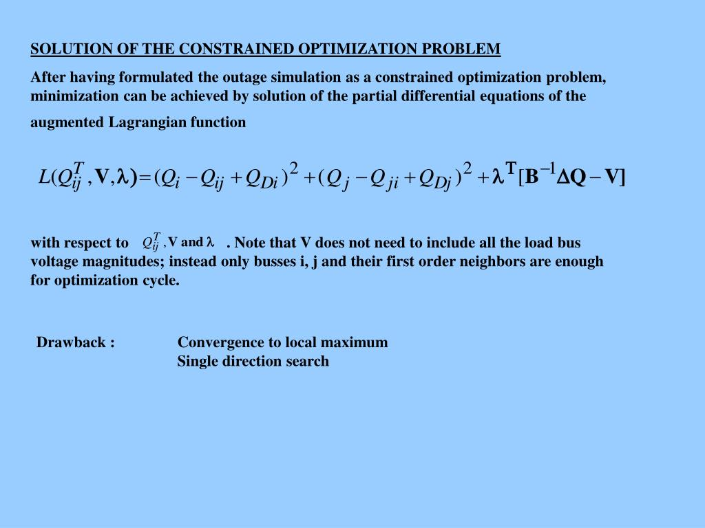 SOLUTION OF THE CONSTRAINED OPTIMIZATION PROBLEM