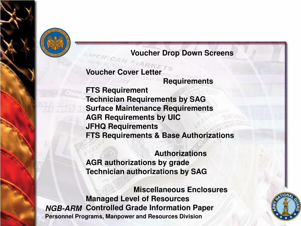 Voucher Drop Down Screens
