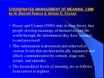 coordinated management of meaning cmm by w barnett pearce vernon e cronen