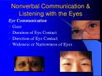nonverbal communication listening with the eyes