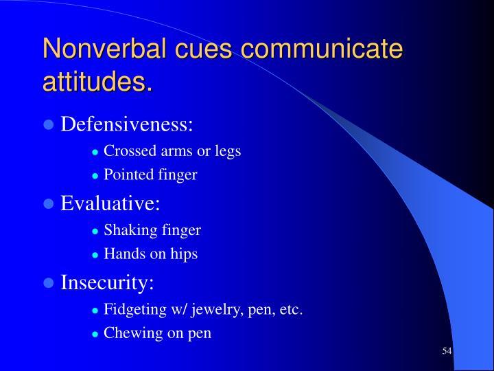 Nonverbal cues communicate attitudes.