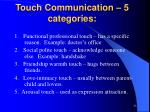 touch communication 5 categories