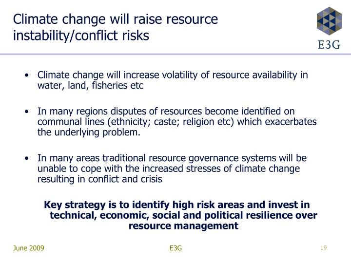 Climate change will raise resource instability/conflict risks
