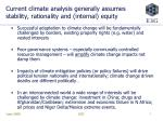 current climate analysis generally assumes stability rationality and internal equity