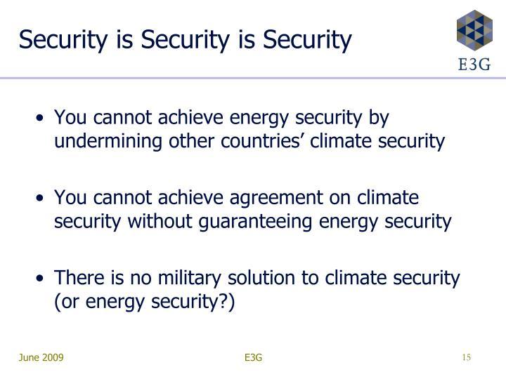 Security is Security is Security
