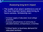 assessing long term impact