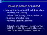 assessing medium term impact
