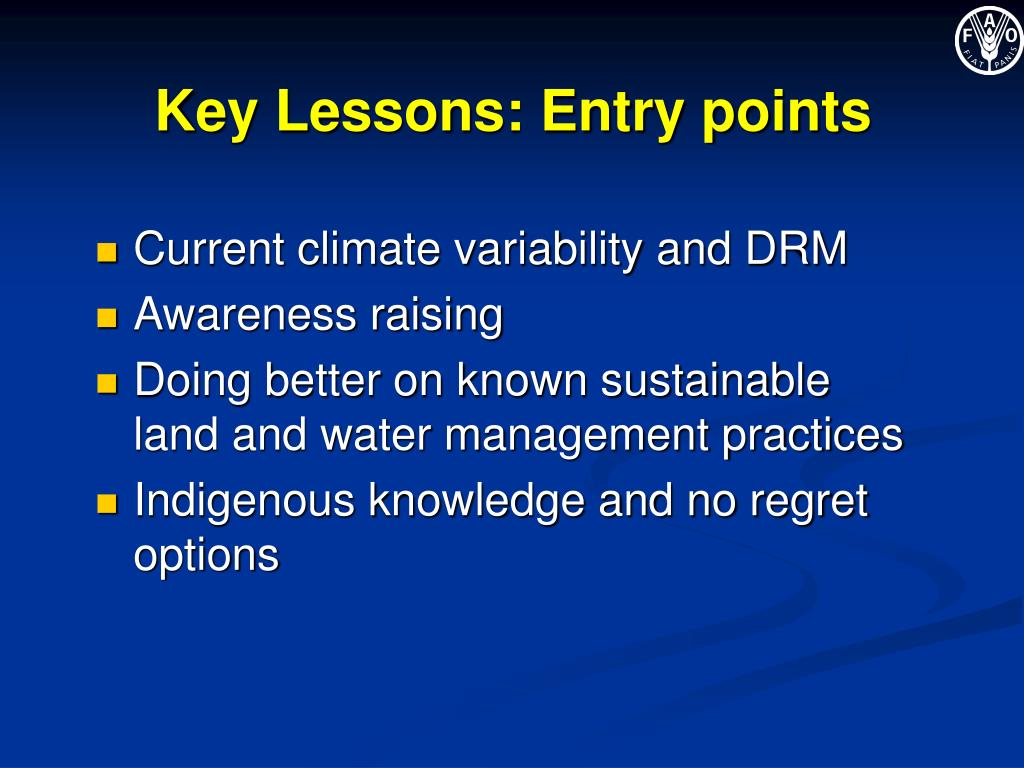 Key Lessons: Entry points